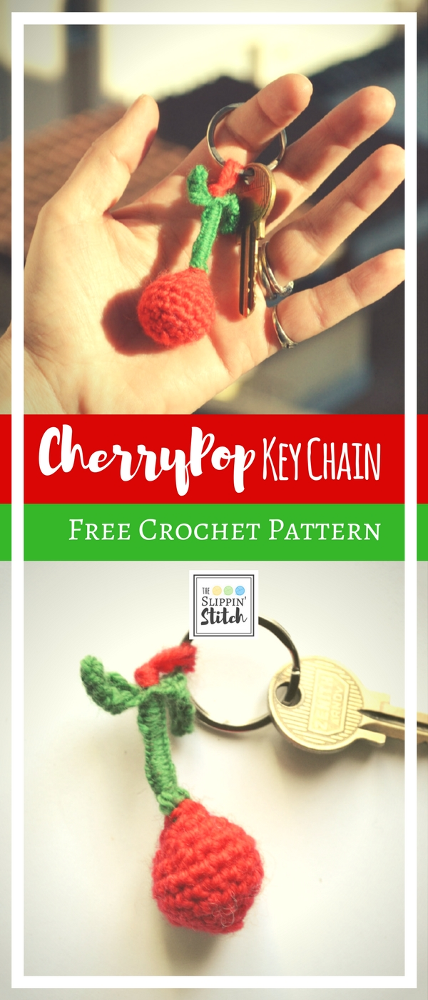 Free Crochet Pattern - Cherry Pop Keychain - the Slippin' Stitch