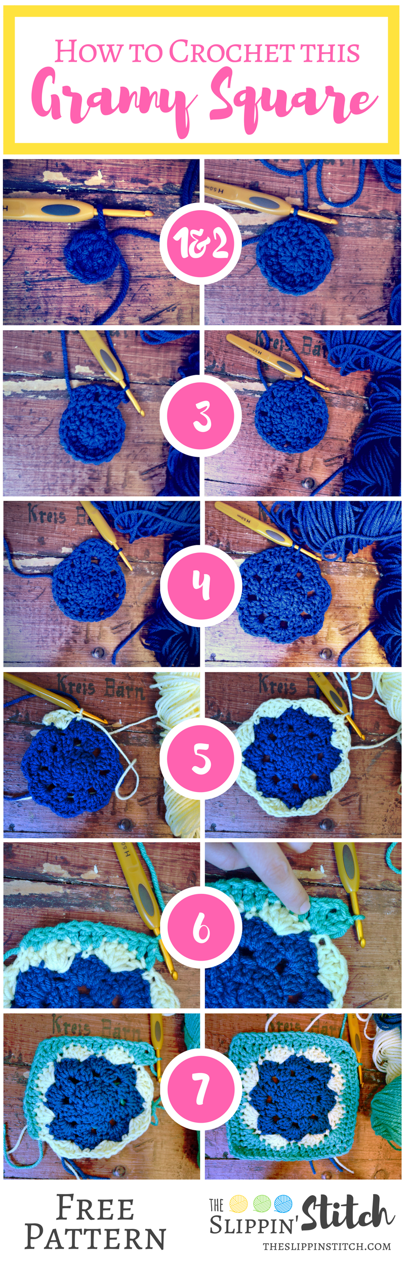 step by step visual instructions for granny square crochet pattern