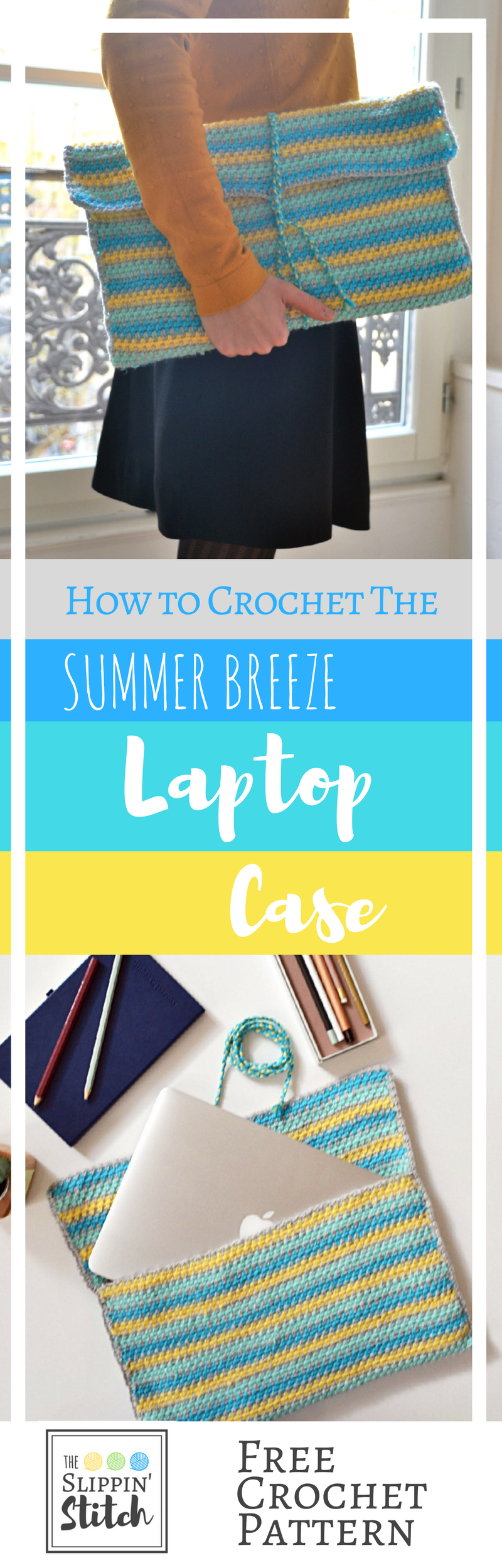 Beautiful Summer Breeze Laptop Case - Free Crochet Pattern suitable for Beginners