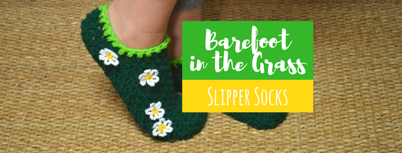 Barefoot in the Grass Slipper Socks Crochet Pattern