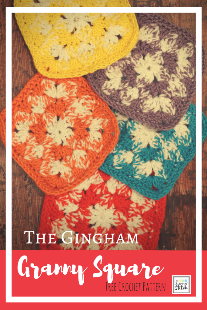 Gingham Granny Square Free Crochet Pattern