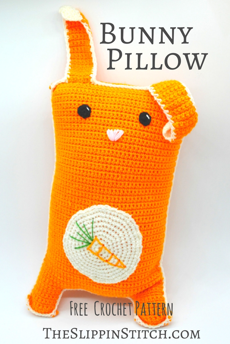 Cuddly Bunny Pillow - Free Crochet Pattern - the Slippin' Stitch. #crochet #crochetpattern #crocheting #pillow